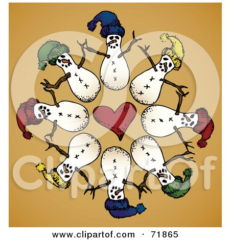 Royalty-Free (RF) Clipart Illustration of a Circle Of Snowmen Around A Heart On Orange by inkgraphics