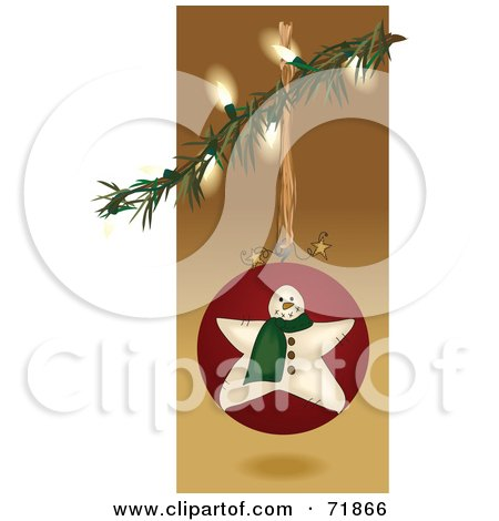Royalty-Free (RF) Clipart Illustration of an Illuminated Christmas Tree Branch With A Snowman Bauble by inkgraphics