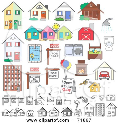 Royalty-Free (RF) Clipart Illustration of a Digital Collage Of Realty Buildings And Items by inkgraphics