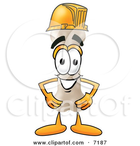 Clipart Picture of a Bone Mascot Cartoon Character Wearing a Helmet by Toons4Biz