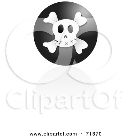 Royalty-Free (RF) Clipart Illustration of a Black Skull Icon With A Reflection by inkgraphics