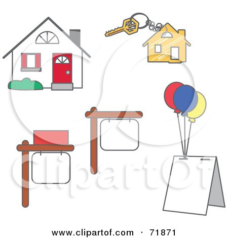 Royalty-Free (RF) Clipart Illustration of a Digital Collage Of Real Estate Signs, Key And House by inkgraphics