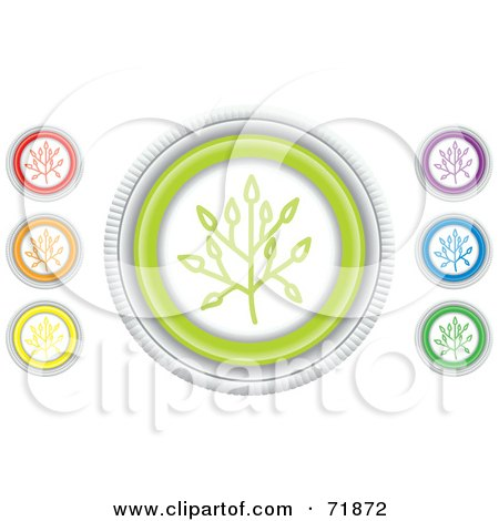 Royalty-Free (RF) Clipart Illustration of a Digital Collage Of Colorful Round Twig Website Buttons by inkgraphics