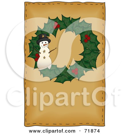 Royalty-Free (RF) Clipart Illustration of a Holly Christmas Wreath With A Snowman On Brown by inkgraphics