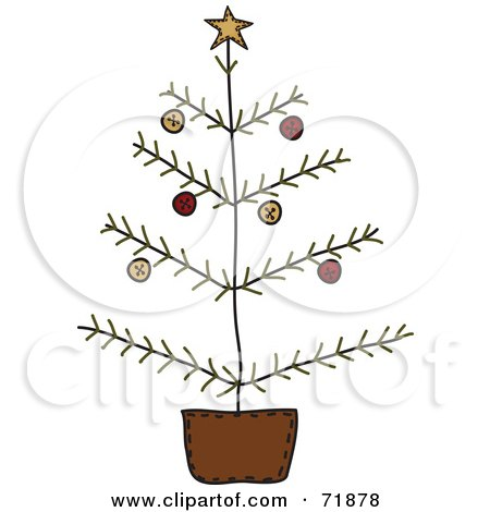 Royalty-Free (RF) Clipart Illustration of a Leafless Christmas Tree In A Pot by inkgraphics