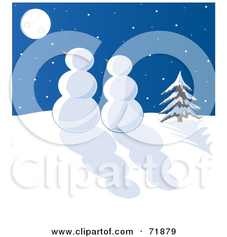 Royalty-Free (RF) Clipart Illustration of a Snowman Couple Gazing At The Moon On A Winter Night by inkgraphics