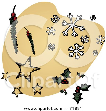 Royalty-Free (RF) Clipart Illustration of Scattered Christmas Items Over A Beige Shape  by inkgraphics