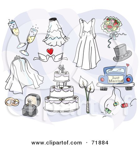Royalty-Free (RF) Clipart Illustration of a Digital Collage Of Wedding Day Items by inkgraphics