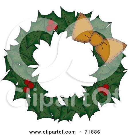 Royalty-Free (RF) Clipart Illustration of a Holly Christmas Wreath With An Orange Bow On White by inkgraphics