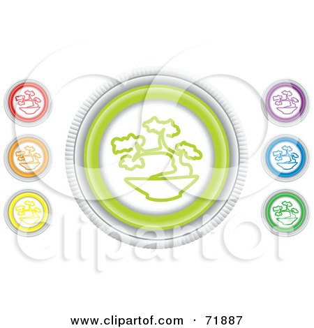 Royalty-Free (RF) Clipart Illustration of a Digital Collage Of Colorful Round Bonsai Website Buttons by inkgraphics