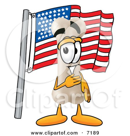 Clipart Picture of a Bone Mascot Cartoon Character Pledging Allegiance to an American Flag by Toons4Biz