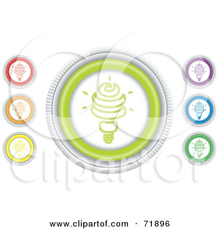 Royalty-Free (RF) Clipart Illustration of a Digital Collage Of Colorful Round Light Bulb Website Buttons by inkgraphics