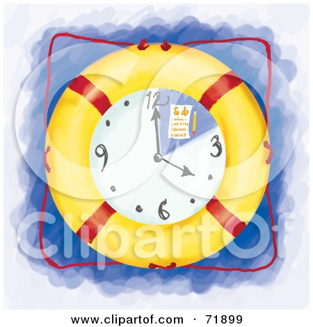 Royalty-Free (RF) Clipart Illustration of a To Do List On A Life Buoy Clock by inkgraphics