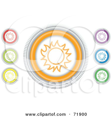 Royalty-Free (RF) Clipart Illustration of a Digital Collage Of Colorful Round Sun Website Buttons by inkgraphics