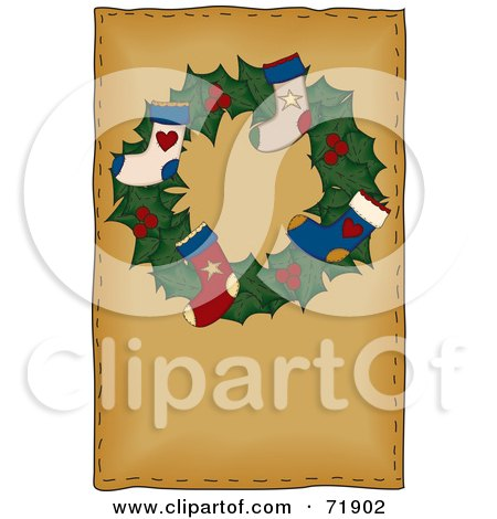 Royalty-Free (RF) Clipart Illustration of a Holly Christmas Wreath With Stockings On Brown by inkgraphics