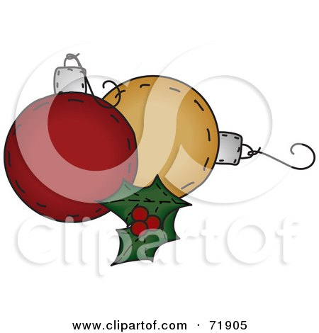 Royalty-Free (RF) Clipart Illustration of Holly Leaves With Orange And Red Christmas Ornaments by inkgraphics