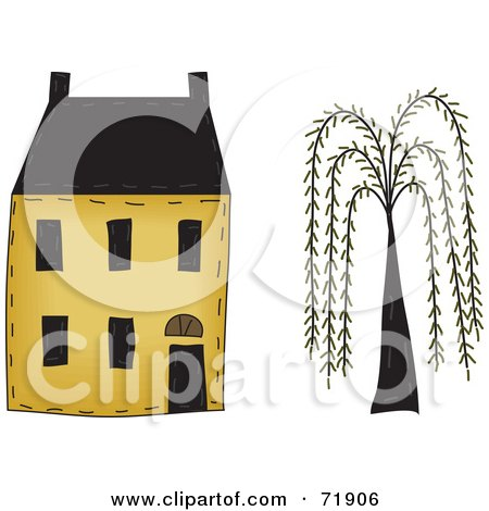 Royalty-Free (RF) Clipart Illustration of a Yellow Two Story House By A Willow Tree by inkgraphics