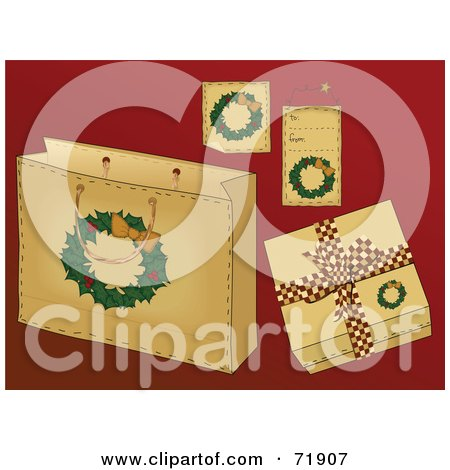 Royalty-Free (RF) Clipart Illustration of a Digital Collage Of Wreath Christmas Present Items On Red by inkgraphics