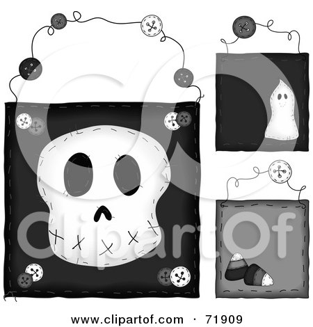 Royalty-Free (RF) Clipart Illustration of a Digital Collage Of Hanging Skull Door Signs by inkgraphics