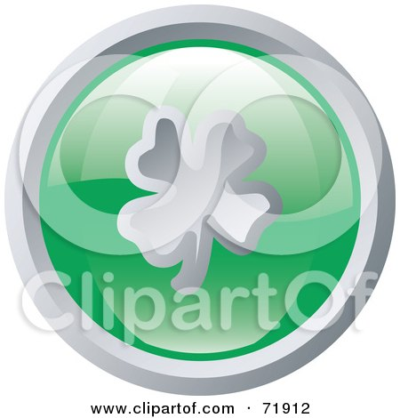 Royalty-Free (RF) Clipart Illustration of a Shiny Round Green And Silver Clover Website Button by inkgraphics