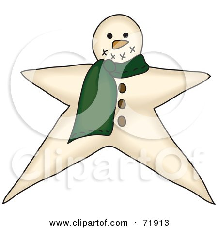 Royalty-Free (RF) Clipart Illustration of a Star Shaped Snowman With A Green Scarf by inkgraphics