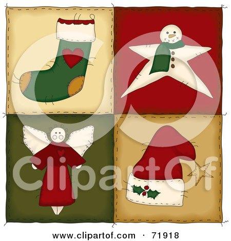Four Christmas Folk Quilt Squares Posters, Art Prints