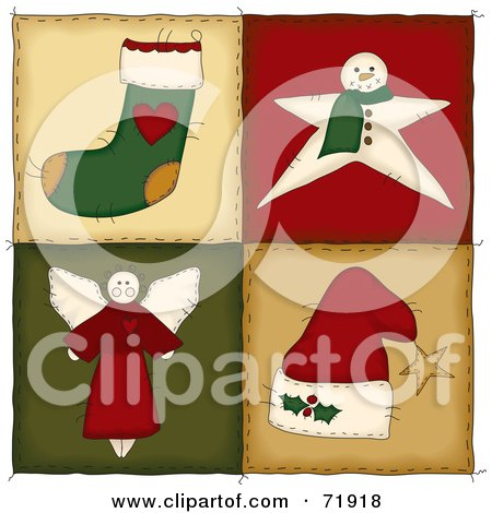 Royalty-Free (RF) Clipart Illustration of Four Christmas Folk Quilt Squares by inkgraphics