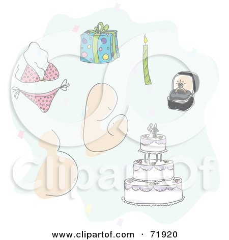 Royalty-Free (RF) Clipart Illustration of a Digital Collage Of Live Event Items; Bikini, Parenting, Pregnancy Marriage, Birthday by inkgraphics
