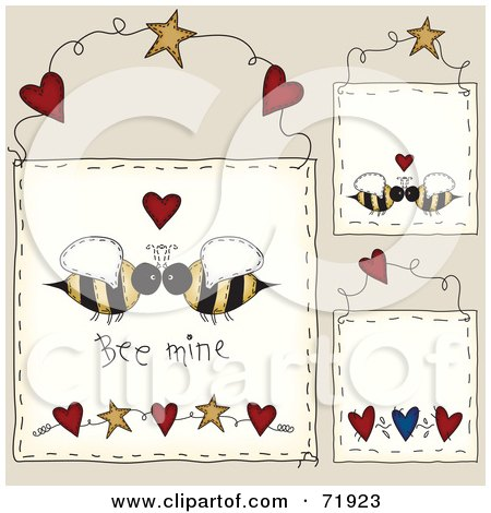 Royalty-Free (RF) Clipart Illustration of a Digital Collage Of Hanging Bee Mine Door Signs by inkgraphics