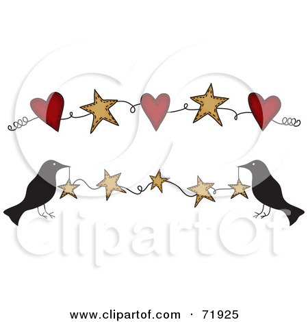 Royalty-Free (RF) Clipart Illustration of Crows Holding Up A Star Banner, Also Includes One With Hearts by inkgraphics