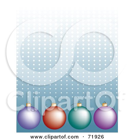 Royalty-Free (RF) Clipart Illustration of a Blue Halftone Dotted Background With Colorful Ornaments by inkgraphics