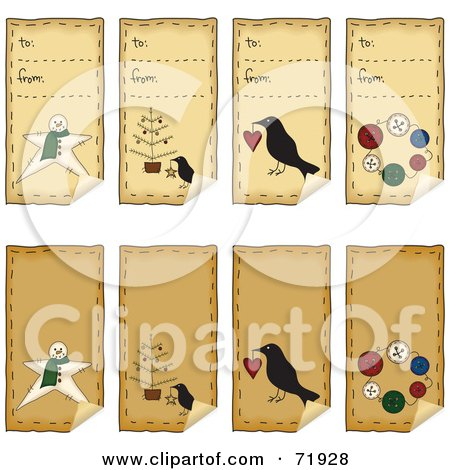 Royalty-Free (RF) Clipart Illustration of a Digital Collage Of Folk Art Xmas Peeling Gift Tags by inkgraphics