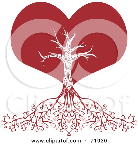 Royalty-Free (RF) Clipart Illustration of a Red Heart Tree With Deep Roots by inkgraphics