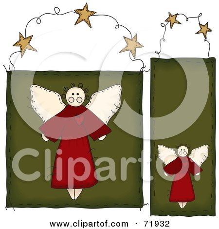 Royalty-Free (RF) Clipart Illustration of a Digital Collage Of Two Folk Styled Angel Door Hanger Signs by inkgraphics