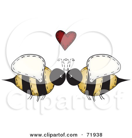 Royalty-Free (RF) Clipart Illustration of a Folk Art Bee Couple Under A Red Heart by inkgraphics