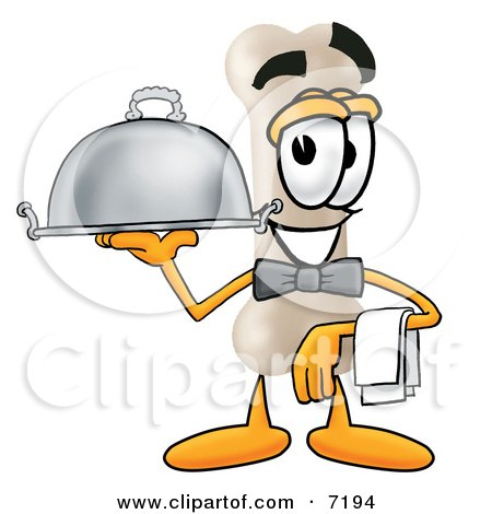 Clipart Picture of a Bone Mascot Cartoon Character Dressed as a Waiter and Holding a Serving Platter by Toons4Biz