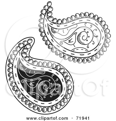 Royalty-Free (RF) Clipart Illustration of a Digital Collage Of Two Black And White Bird Paisley Designs by inkgraphics
