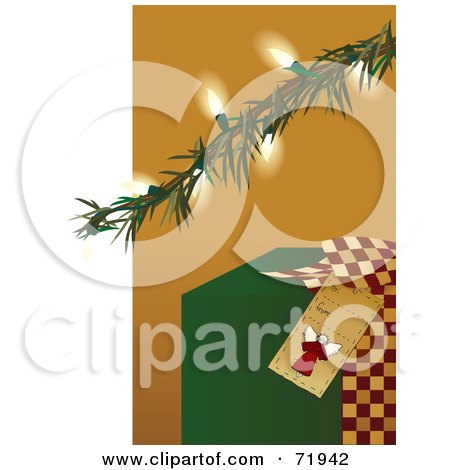Royalty-Free (RF) Clipart Illustration of a Green Christmas Present Under An Illuminated Tree Branch by inkgraphics