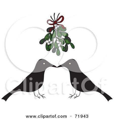 Royalty-Free (RF) Clipart Illustration of a Crow Couple Over A Red Heart by inkgraphics