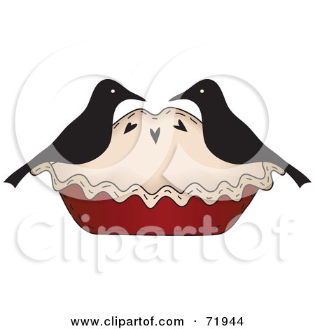 Royalty-Free (RF) Clipart Illustration of a Crow Couple On A Pie by inkgraphics