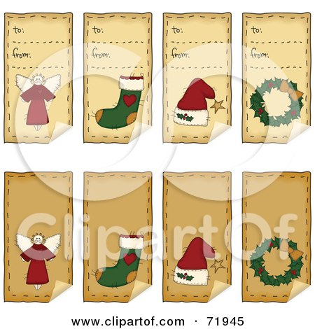 Royalty-Free (RF) Clipart Illustration of a Digital Collage Of Folk Art Christmas Peeling Gift Tags by inkgraphics