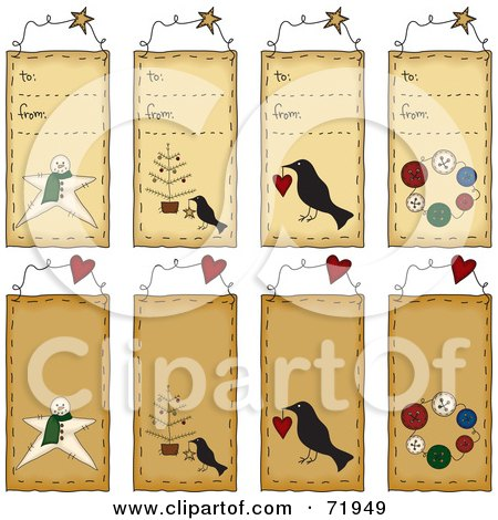 Royalty-Free (RF) Clipart Illustration of a Digital Collage Of To From Folk Tags by inkgraphics