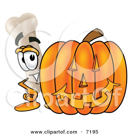Clipart Picture of a Bone Mascot Cartoon Character With a Carved Halloween Pumpkin by Toons4Biz