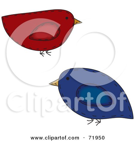 Royalty-Free (RF) Clipart Illustration of Red And Blue Folk Art Birds by inkgraphics