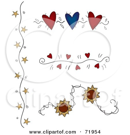 Royalty-Free (RF) Clipart Illustration of a Digital Collage Of Flower, Star And Heart Divider Designs by inkgraphics