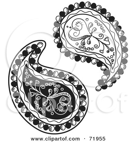 Royalty-Free (RF) Clipart Illustration of a Digital Collage Of Two Black And White Heart Paisley Designs by inkgraphics