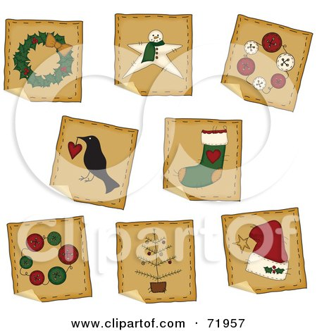 Royalty-Free (RF) Clipart Illustration of a Digital Collage Of Peeling Square Folk Art Christmas Stickers by inkgraphics