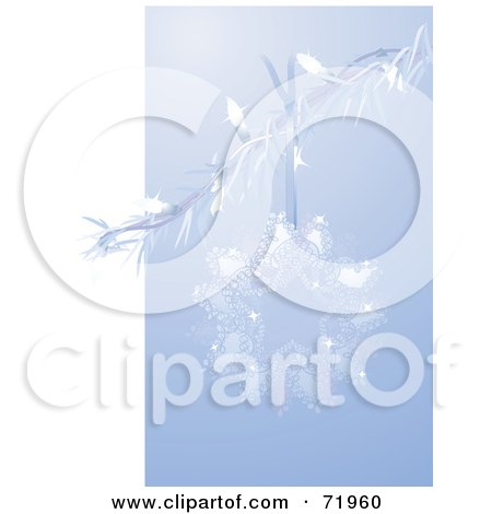 Royalty-Free (RF) Clipart Illustration of a Blue Star Shaped Christmas Ornament On A Branch by inkgraphics