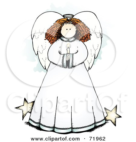 Royalty-Free (RF) Clipart Illustration of a Sweet Angel Holding A Candle, With Stars by inkgraphics