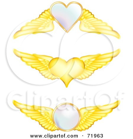 Royalty-Free (RF) Clipart Illustration of a Digital Collage Of Golden Wings With Hearts And Orbs by inkgraphics